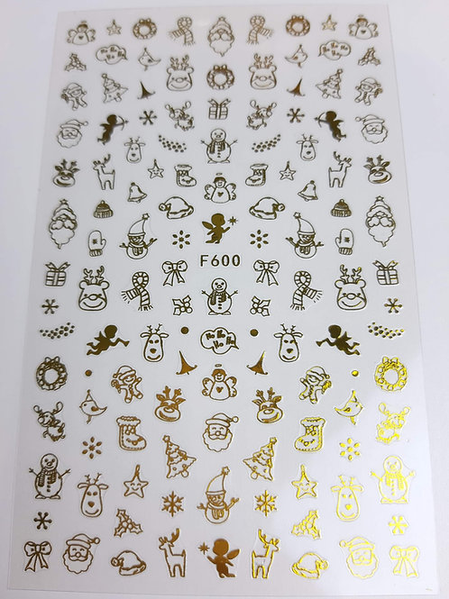 Christmas Gold Sticker Sheet F600