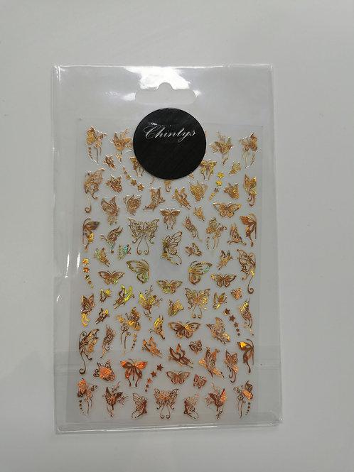 Holo Gold Butterflies Stickers 2