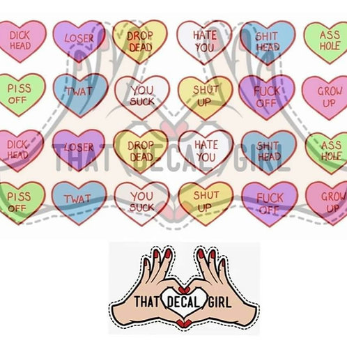 Hate Hearts Decals