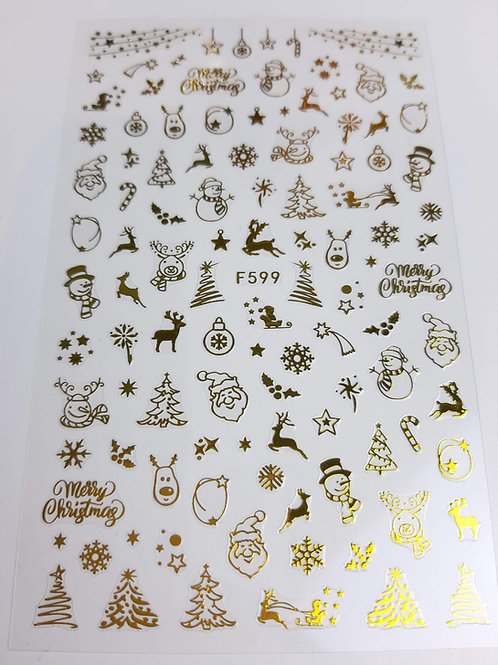 Christmas Gold Sticker Sheet F599