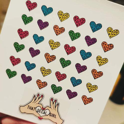 Leopard Print love Heart Decals