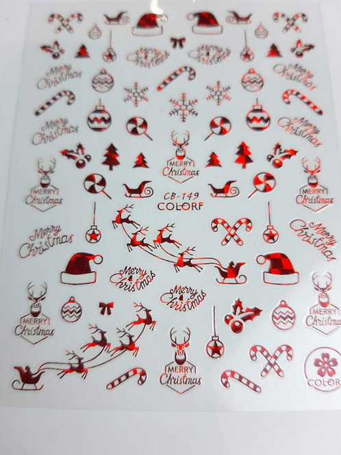 Christmas Sticker Sheet Red 149