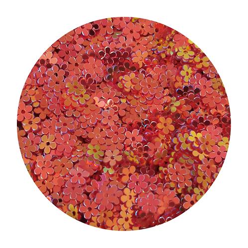 Coral Flowers Glitter Pot