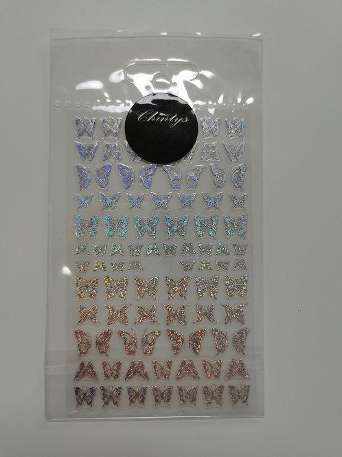 Holo Silver Butterflies Stickers 4