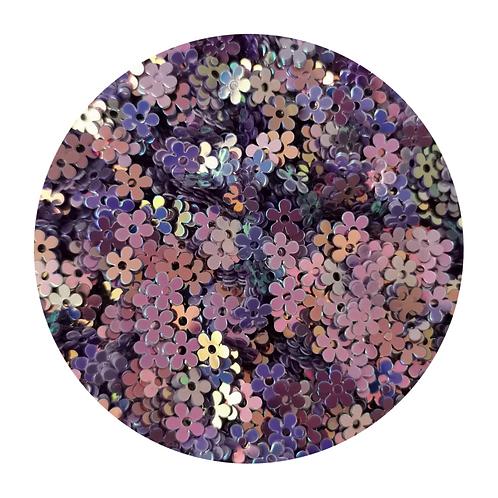 Purple Flowers Glitter Pot