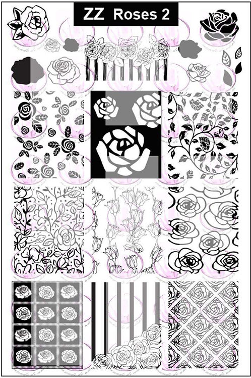 Zz Roses 2 Mundo De U?as Stamping Plate