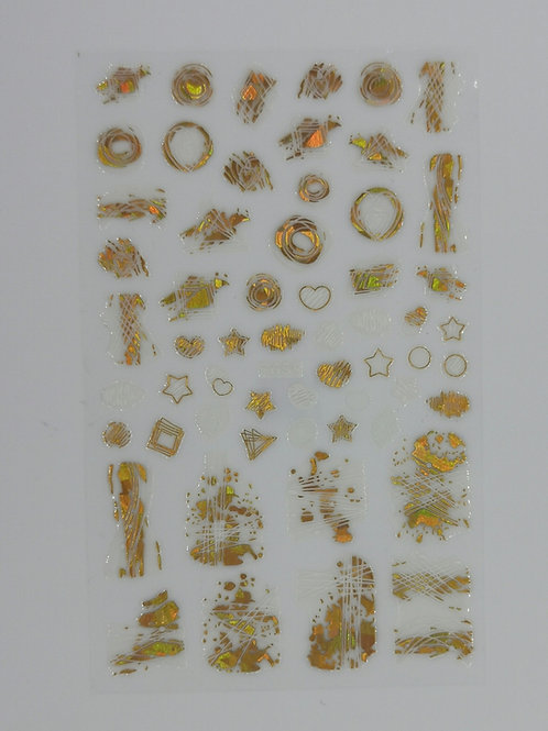 Abstract Gold & White Sticker Sheet 659