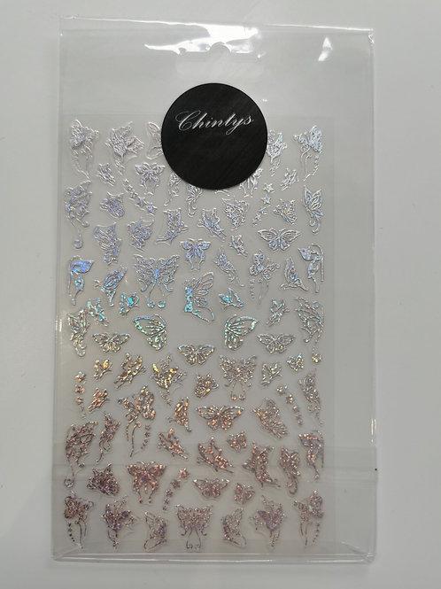 Holo Silver Butterflies Stickers