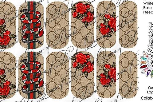 Designer Inspired Nude & Roses Decals