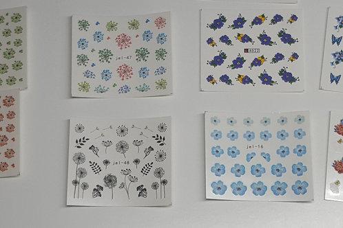 Flower water decals x5