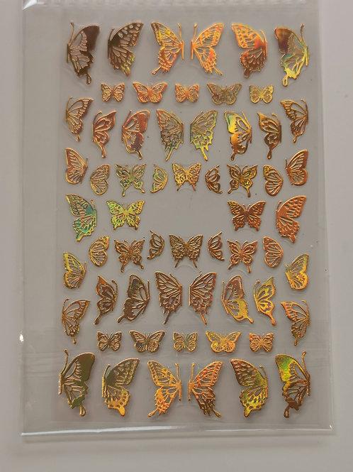Holo Gold Butterflies Stickers 3
