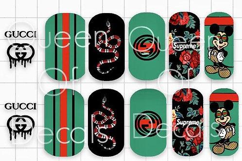 Designer Inspired Green, Red & Mickey Decals