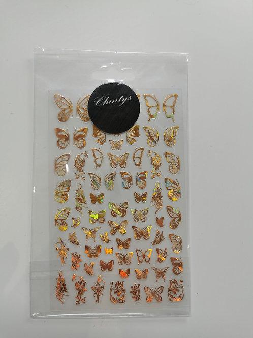 Holo Gold Butterflies Stickers