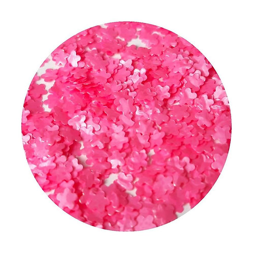 Pink Flowers Glitter Pot