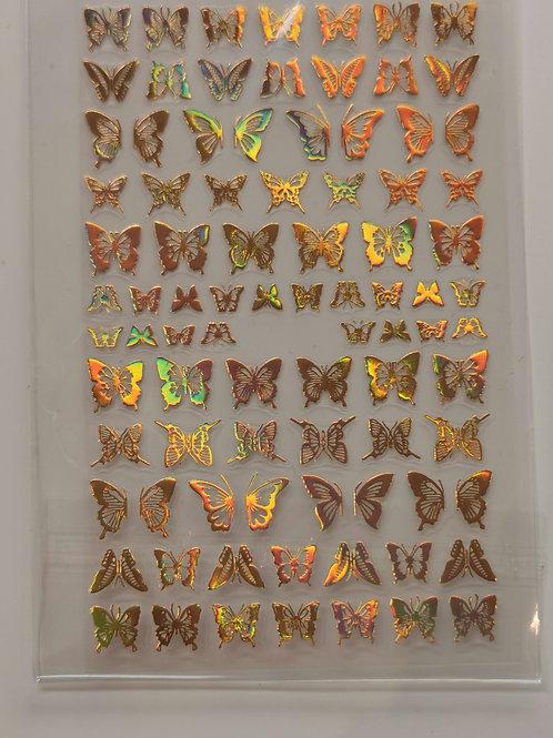 Holo Gold Butterflies Stickers 4
