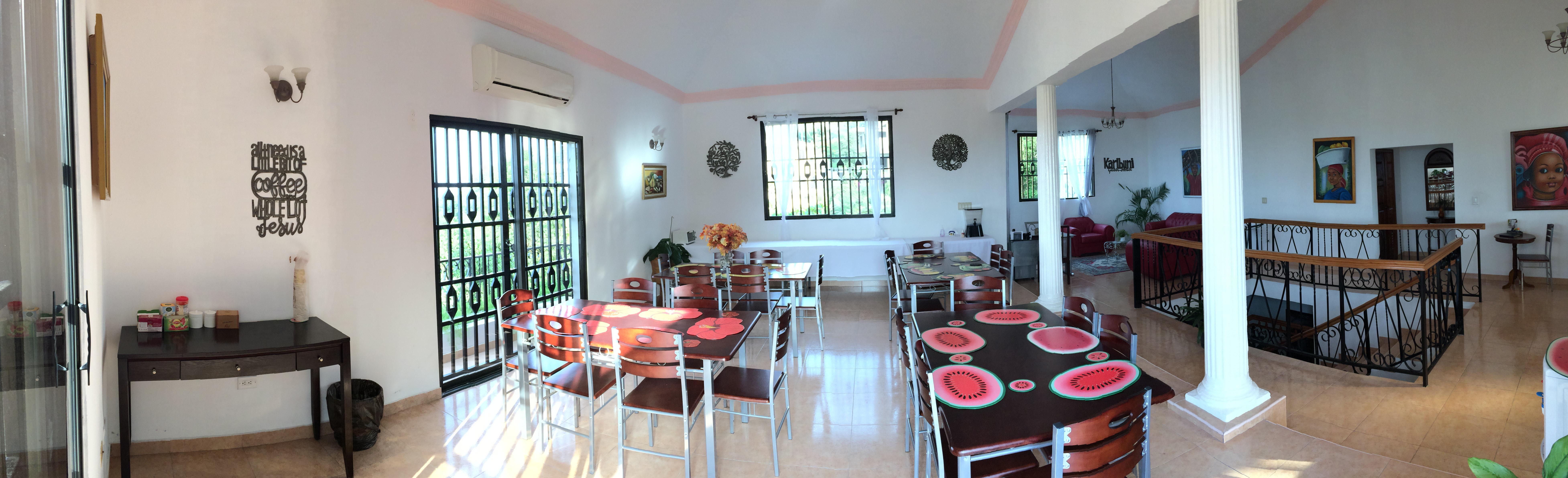 Cafeteria, eating area at Karibuni