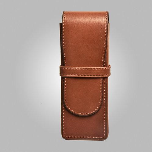 Three Pen Hand-stitched Leather Box Cognac