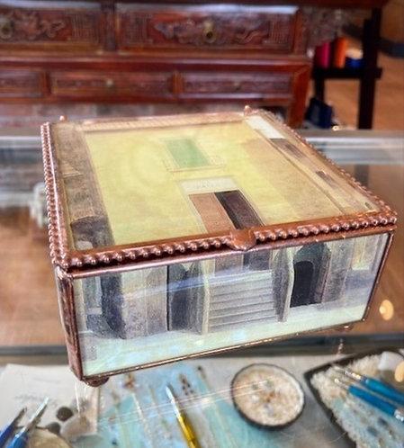 Hand Decoupage Box of Glass & Copper