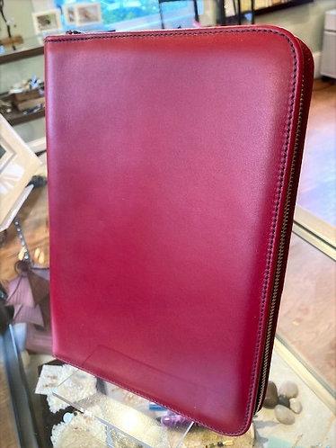 Italian Zippered Portfolio In Red Leather