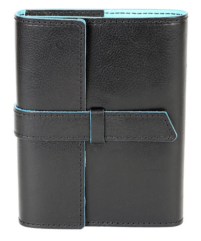 Modern Italian Leather Journal Black w/Turquoise