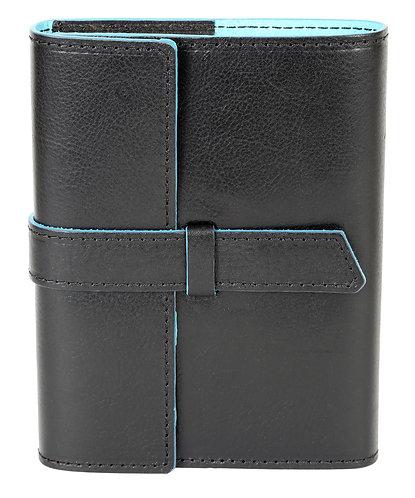 Modern Italian Leather Journal Black w/Turquoise