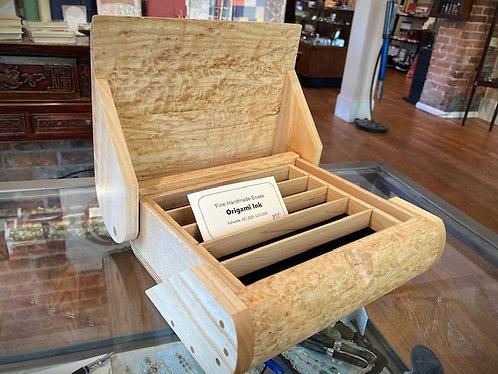 Handmade 10 Pen Display Box of Maple Burl