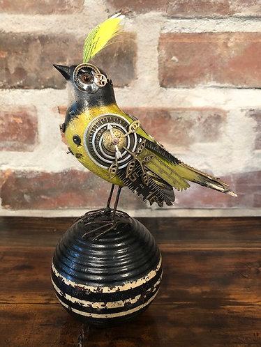 Green & Black Song Bird On Croquet Ball