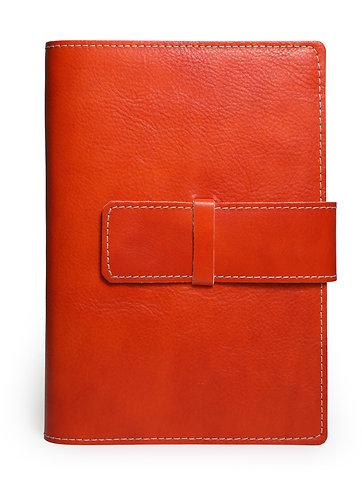 Italian Leather Refillable Snap Journal in Burnt Orange