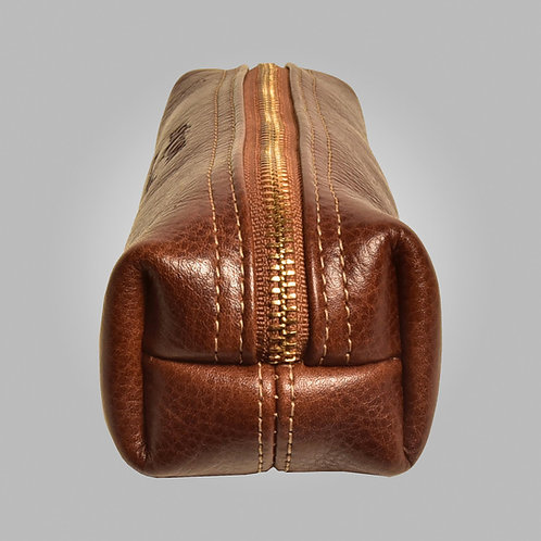 Hand Stitched Brown Leather Pouch Large