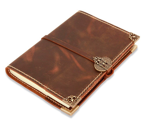 Antique Leather Diary with Bronze Ornament