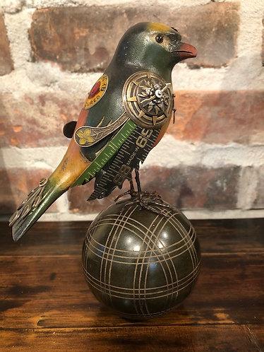 Bird On Cross-hatch Croquet Ball