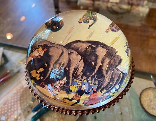 Handmade Decoupage Glass & Copper Paperweight