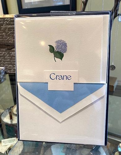 Crane Engraved Blue Hydrangea Notes