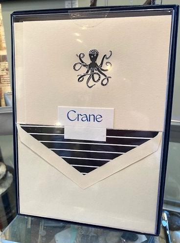 Crane Engraved Octopus Notes