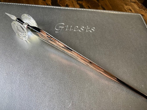 Hand Blow Glass Pen in Black w/Gold Flecks