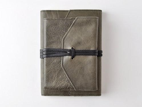 Italian Leather Wrap Journal in Slate Grey