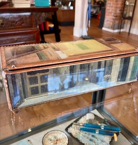 Hand Crafted Decoupage box of Glass & Copper