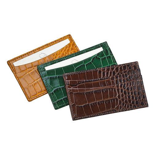 Crocodile Embossed Slim line Leather Card Case