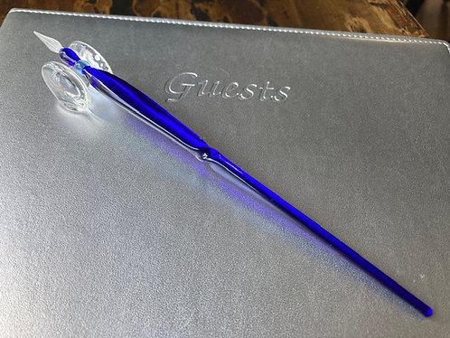 Hand Blown Glass Dipping Pen in Cobalt