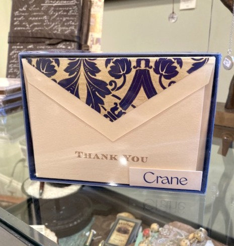 Crane Blue Bordered Regency Thank You Notes