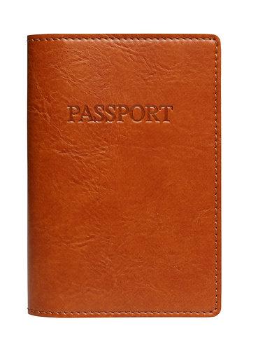 Italian Bi-color Passport Cover Cognac