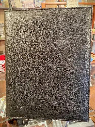 Large Leather Folding Portfolio in Black