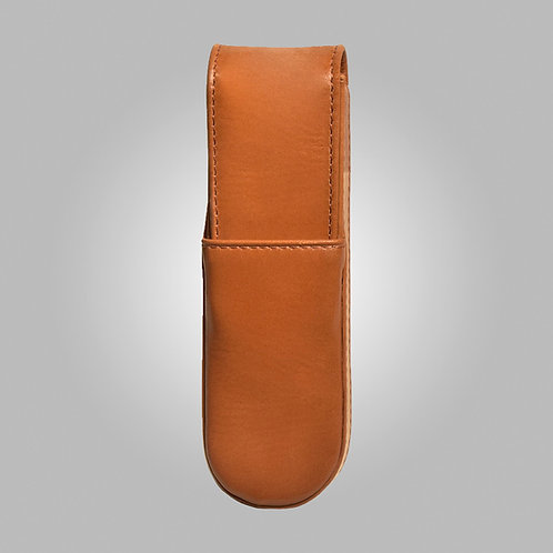 Two Pen Hand Stitched Leather Box/Case Tan