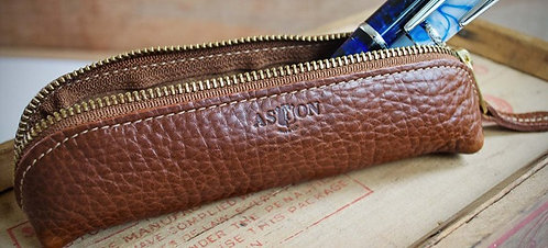Pen Or Multi-Purpose Hand Stitched Leather Pouch Tan