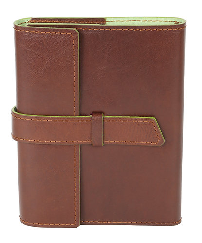 Modern Italian Leather Journal Brown w/Green
