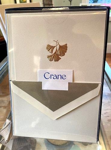 Crane Hand Engraved Ginko Leaf Notes