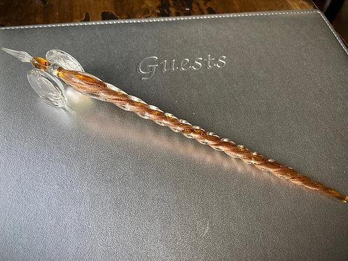 Hand Blown Glass Dipping Pen in Amber w/Gold Flecks