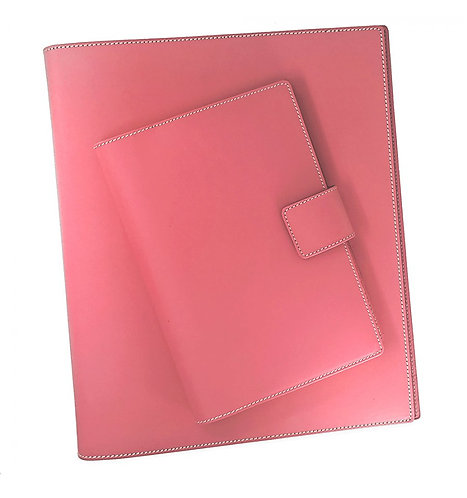 Italian Leather Snap Journal In Pink