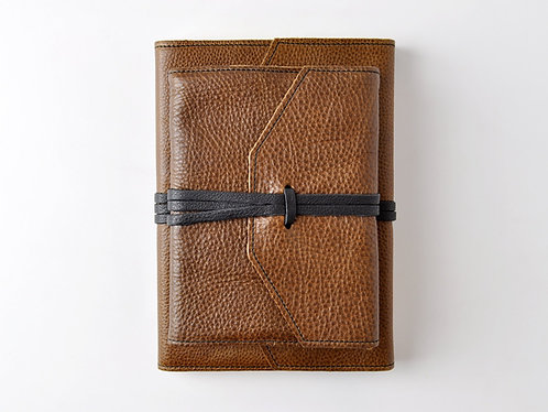 Italian Leather Wrap Journal in Antique Brown