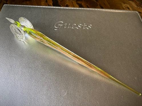Hand Blown Glass Dipping Pen Lime w/Gold Flecks